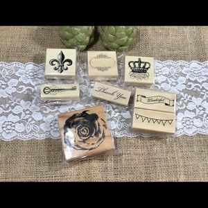 Michaels set of Wooden Rubber Stamps